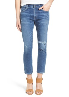 Citizens of Humanity 'Agnes' High Rise Crop Slim Straight Leg Jeans (Distressed Harbor)
