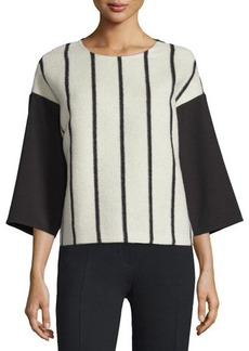 CoSTUME NATIONAL 3/4-Sleeve Striped-Front Shirt