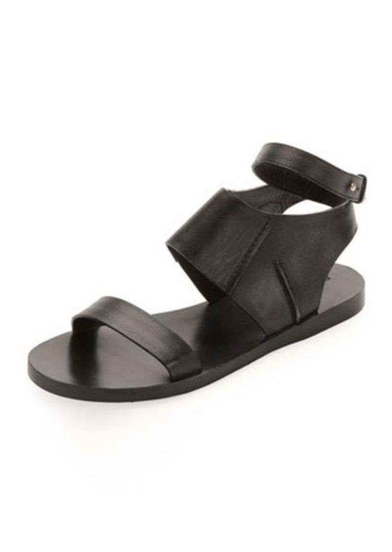 CoSTUME NATIONAL Calfskin Flat Ankle-Wrap Sandal, Black