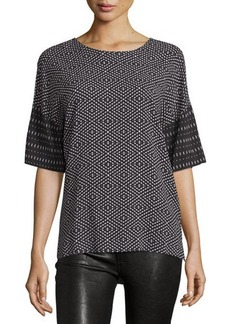 CoSTUME NATIONAL Half-Sleeve Mixed-Print Top