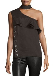 CoSTUME NATIONAL Mock-Neck One-Shoulder Top