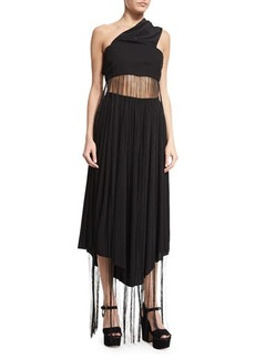 CoSTUME NATIONAL One-Shoulder Fringe Crop Top