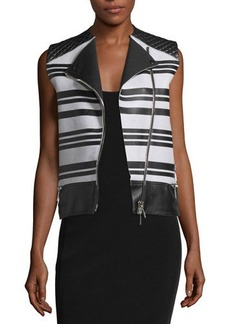 CoSTUME NATIONAL Sleeveless Asymmetric-Zip Leather Waistcoat