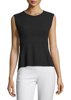 CoSTUME NATIONAL Sleeveless Contrast-Trim Peplum Top
