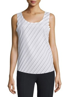 CoSTUME NATIONAL Sleeveless Scoop-Neck Plisse Top