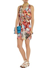 T-Bags Cape-back stretch-satin jersey mini dress