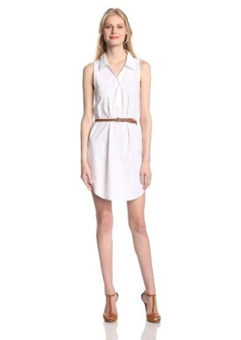 Joie Women's Darlena Cotton Poplin Sleeveless Shirt Dress, Porcelain, Large