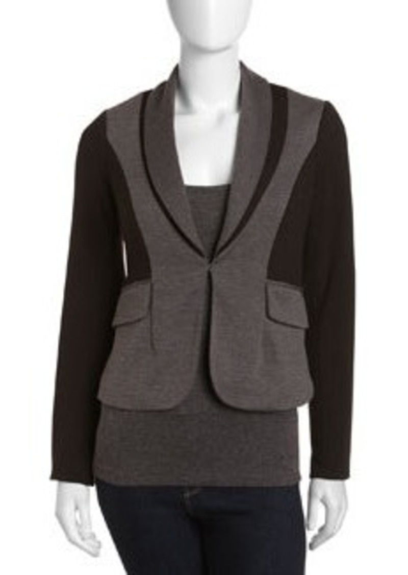 Laundry by Shelli Segal Colorblock Shawl-Collar Jacket, Dark Charcoal/Black