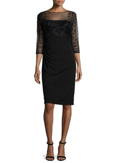David Meister 3/4-Sleeve Beaded-Bodice Ruched Sheath Dress  3/4-Sleeve Beaded-Bodice Ruched Sheath Dress