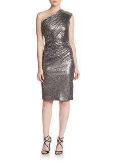David Meister Beaded One-Shoulder Foiled Jersey Dress