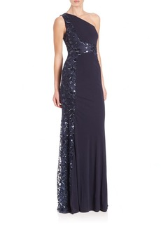 David Meister Beaded One-Shoulder Jersey Gown