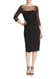 David Meister Beaded Sheath Dress