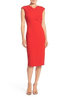 David Meister Cross Front Crepe Sheath Dress