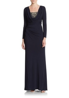 David Meister Cowlneck Long-Sleeve Gown