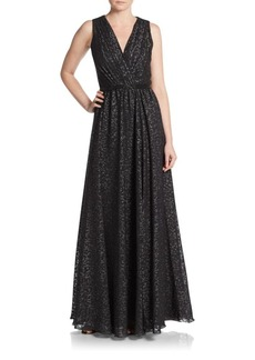 David Meister Embellished Fit-And-Flare Gown