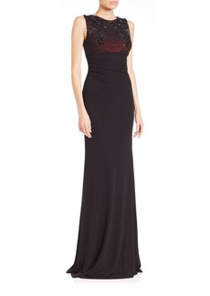David Meister Embellished Mesh & Jersey Gown