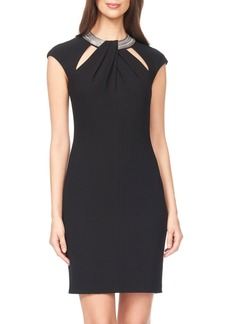 David Meister Embellished Woven Sheath Dress
