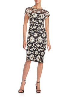 David Meister Embroidered Lace Illusion Dress