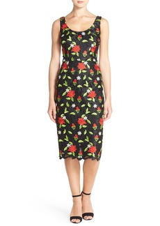 David Meister Embroidered Lace Midi Dress