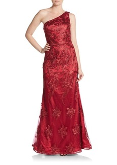 David Meister Embroidered One-Shoulder Trumpet Gown