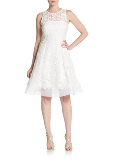 David Meister Embroidered Organza Fit-And-Flare Dress