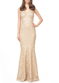 David Meister Embroidered Woven Mermaid Gown
