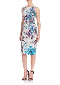 David Meister Floral-Print Cotton Sheath Dress