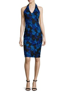 David Meister Halter-Neck Floral-Lace Cocktail Dress