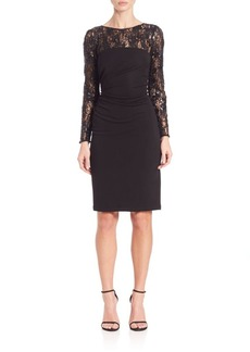 David Meister Jersey & Sequin Cocktail Dress