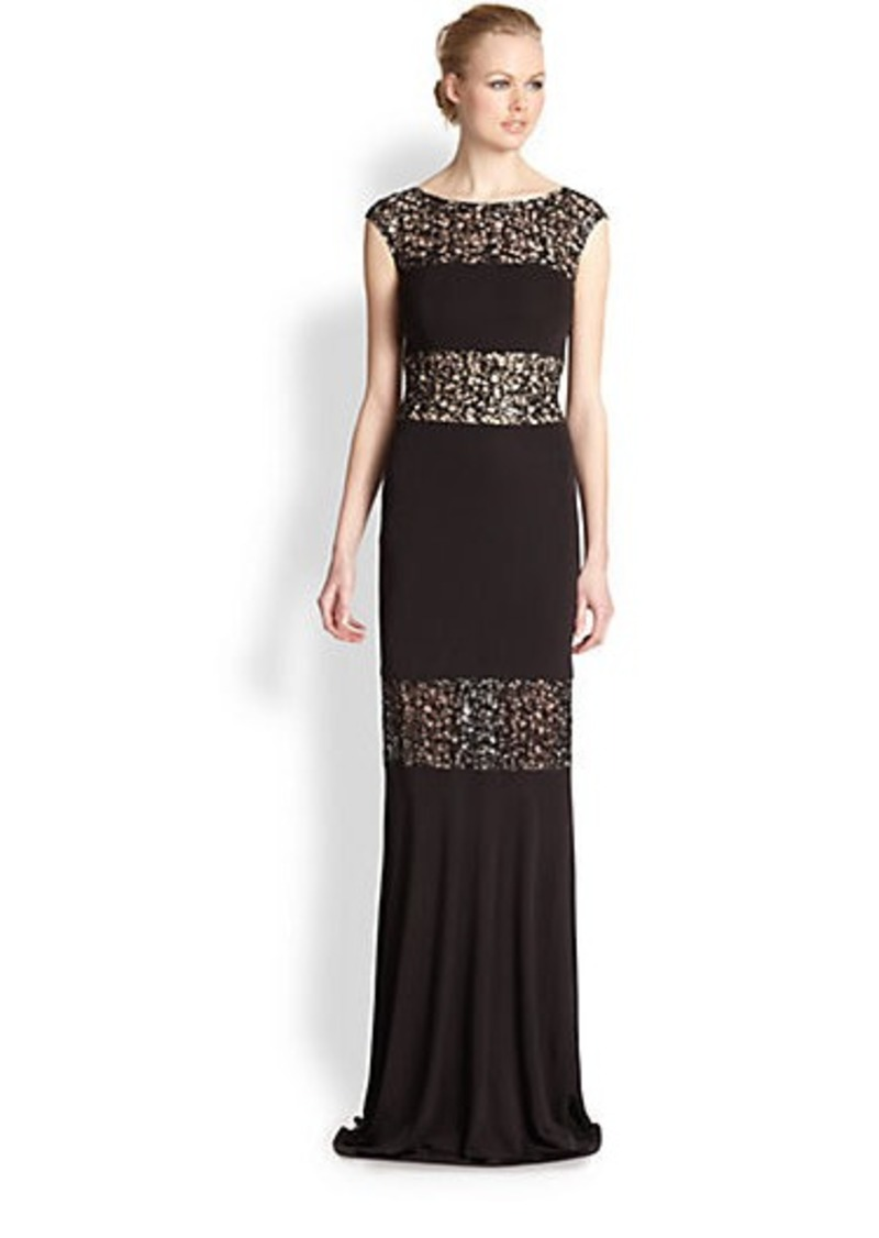 David Meister Jersey Lace Gown