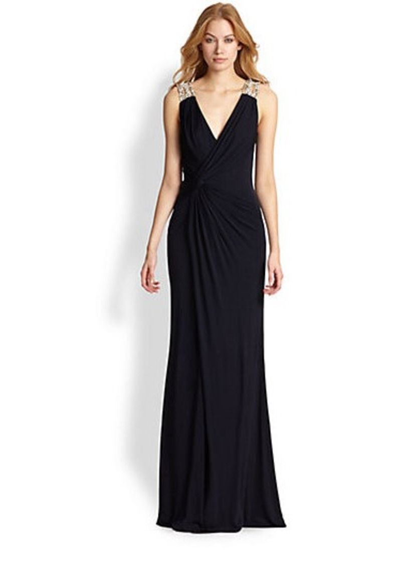 David Meister Jewel-Detail Jersey Gown