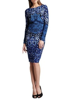 David Meister Long-Sleeve Animal-Print Dress  Long-Sleeve Animal-Print Dress
