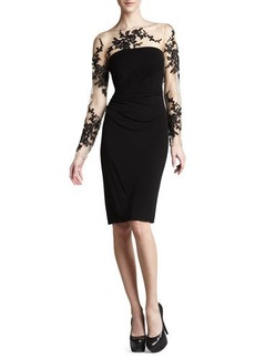 David Meister Long-Sleeve Embroidered Jersey Dress  Long-Sleeve Embroidered Jersey Dress