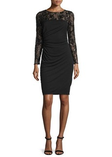David Meister Long-Sleeve Lace Bodice Ruched Cocktail Dress  Long-Sleeve Lace Bodice Ruched Cocktail Dress