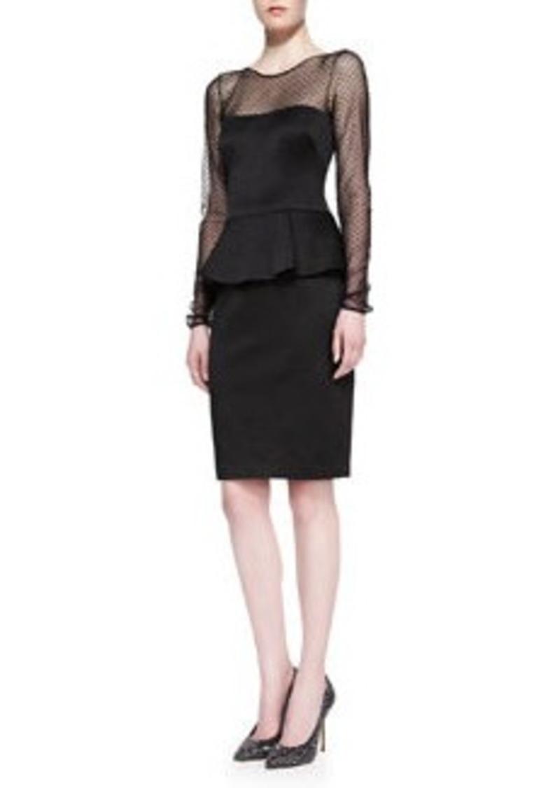 David Meister Long-Sleeve Peplum Cocktail Dress