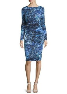 David Meister Long-Sleeve Printed Jersey Dress