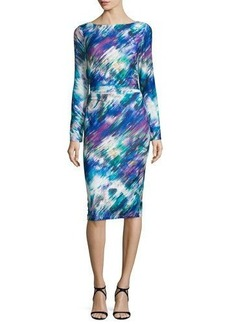 David Meister Long-Sleeve Printed Sheath Dress