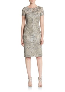 David Meister Embroidered Tulle Cocktail Dress