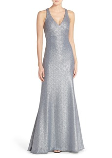 David Meister Metallic Stretch Cutout Gown