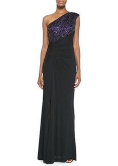 David Meister One-Shoulder Beaded-Angle Gown  One-Shoulder Beaded-Angle Gown