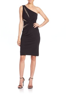 David Meister One-Shoulder Embellished Cocktail Dress