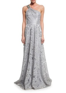 David Meister One-Shoulder Embroidered Gown