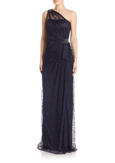 David Meister One Shoulder Lace Cocktail Dress