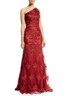 David Meister One-Shoulder Lace Mermaid Gown