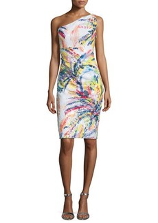 David Meister One-Shoulder Sequined Abstract-Print Cocktail Dress  One-Shoulder Sequined Abstract-Print Cocktail Dress