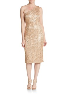David Meister One-Shoulder Sequined Sheath Dress