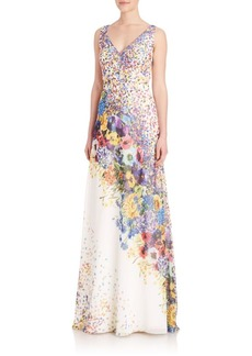 David Meister Placed Floral Chiffon V-Neck Gown