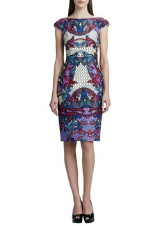 David Meister Printed Cap-Sleeve Sheath Dress