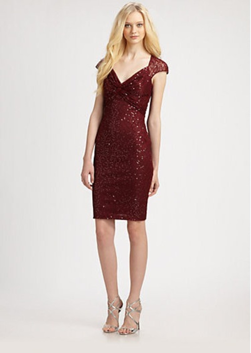 David Meister Sequin Lace Cap-Sleeve Cocktail Dress