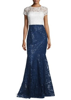 David Meister Short-Sleeve Lace Combo Gown